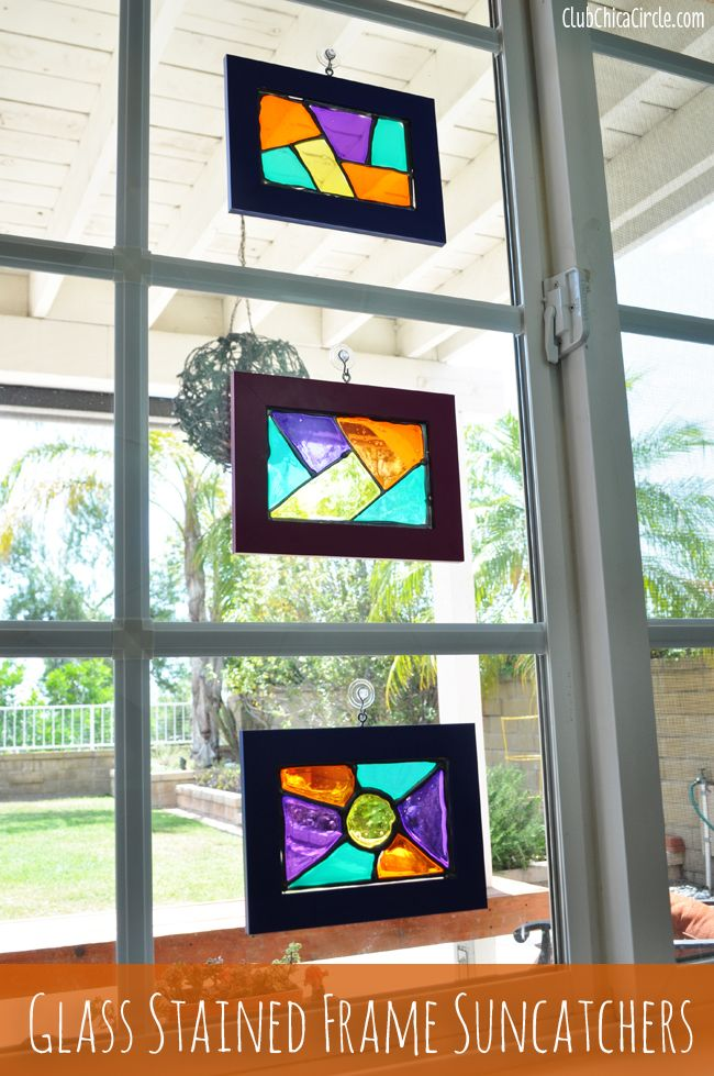Homemade stained glass frame suncatchers craft idea by for Picture frame crafts for adults