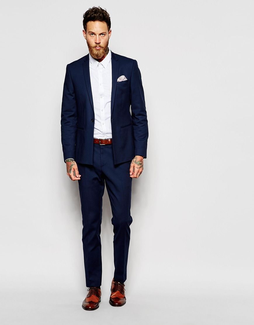 fd8bbe63491e2 Image 4 of ASOS Skinny Suit Jacket In Navy   Dudes in Style ~ in 2019