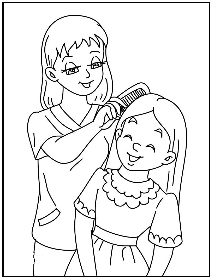 Makeup Daughter At Mother's Day coloring picture for kids