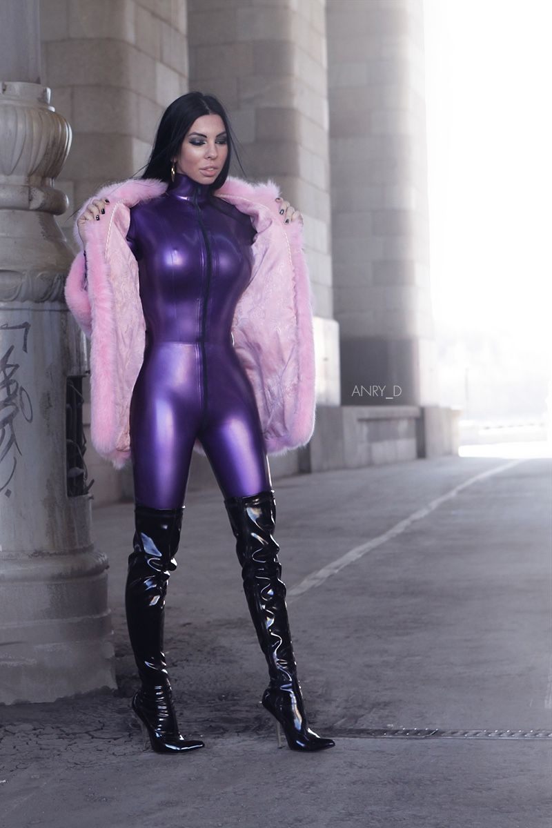 Latex Letter%0A My Katty in latex catsuit