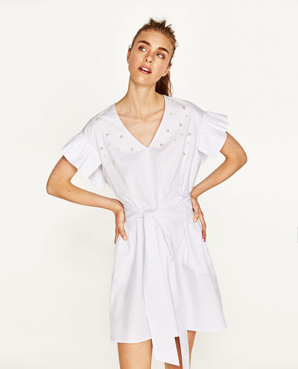 9eb04ab4cbc05a RUFFLED POPLIN DRESS WITH FAUX PEARLS-View All-DRESSES-WOMAN | ZARA United  States