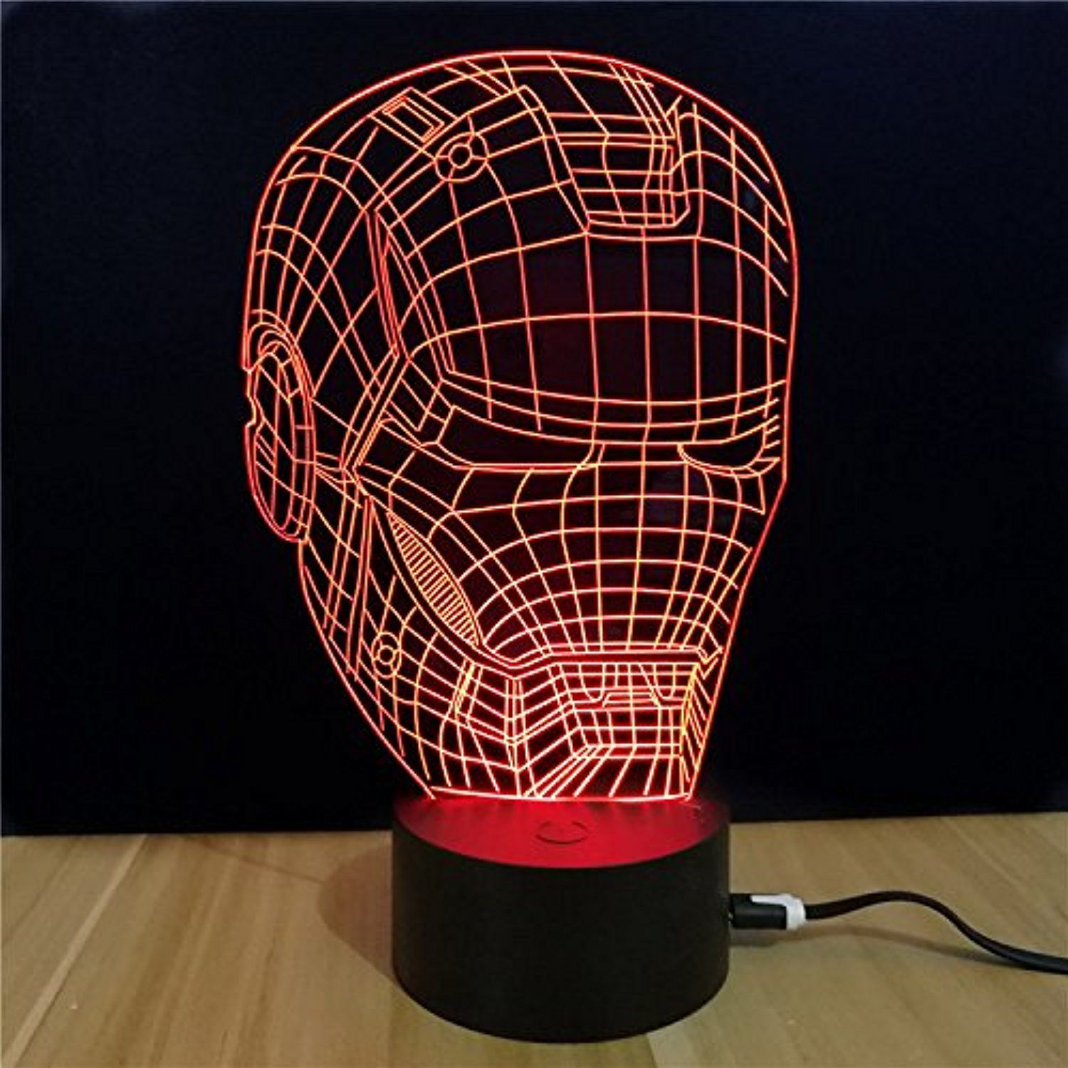 3d Led Illusion Lamp Iron Man 2 3d Visualization Illusion Led Table Light With Touch Button 7 Colors Change To 3d Led Night Light Night Light Led Night Light