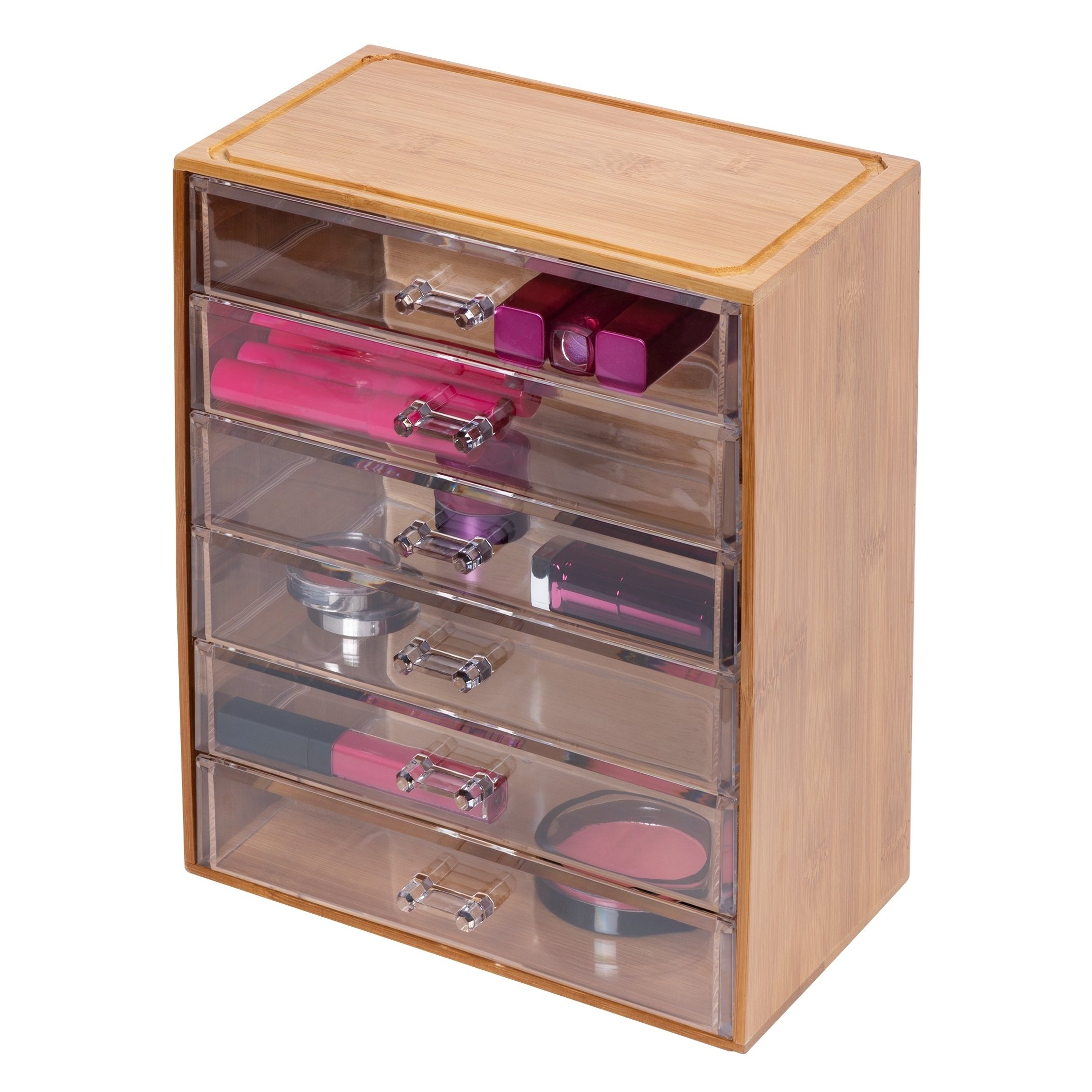 Clearly Chic Clear 6 Drawer With Bamboo Frame Richards Homewares