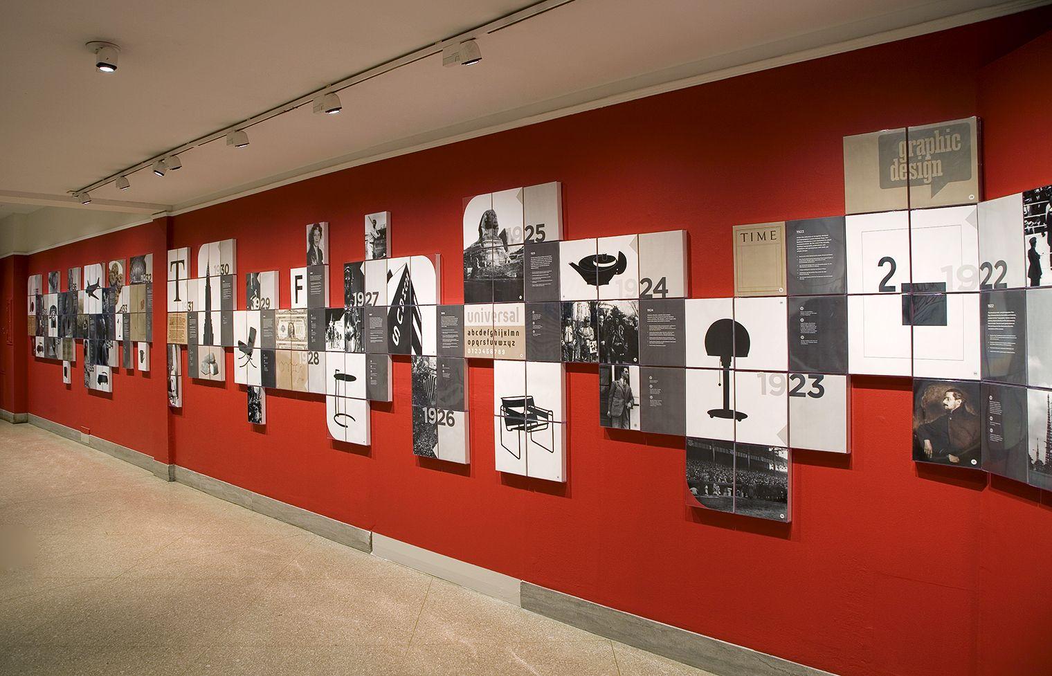 Design Developments Are Rendered In Black And White Silhouettes Other Events Are Represented W Exibition Design Office Interior Design Interior Design History