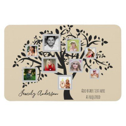 Photo Collage Family Tree Template Personalized Magnet Wedding