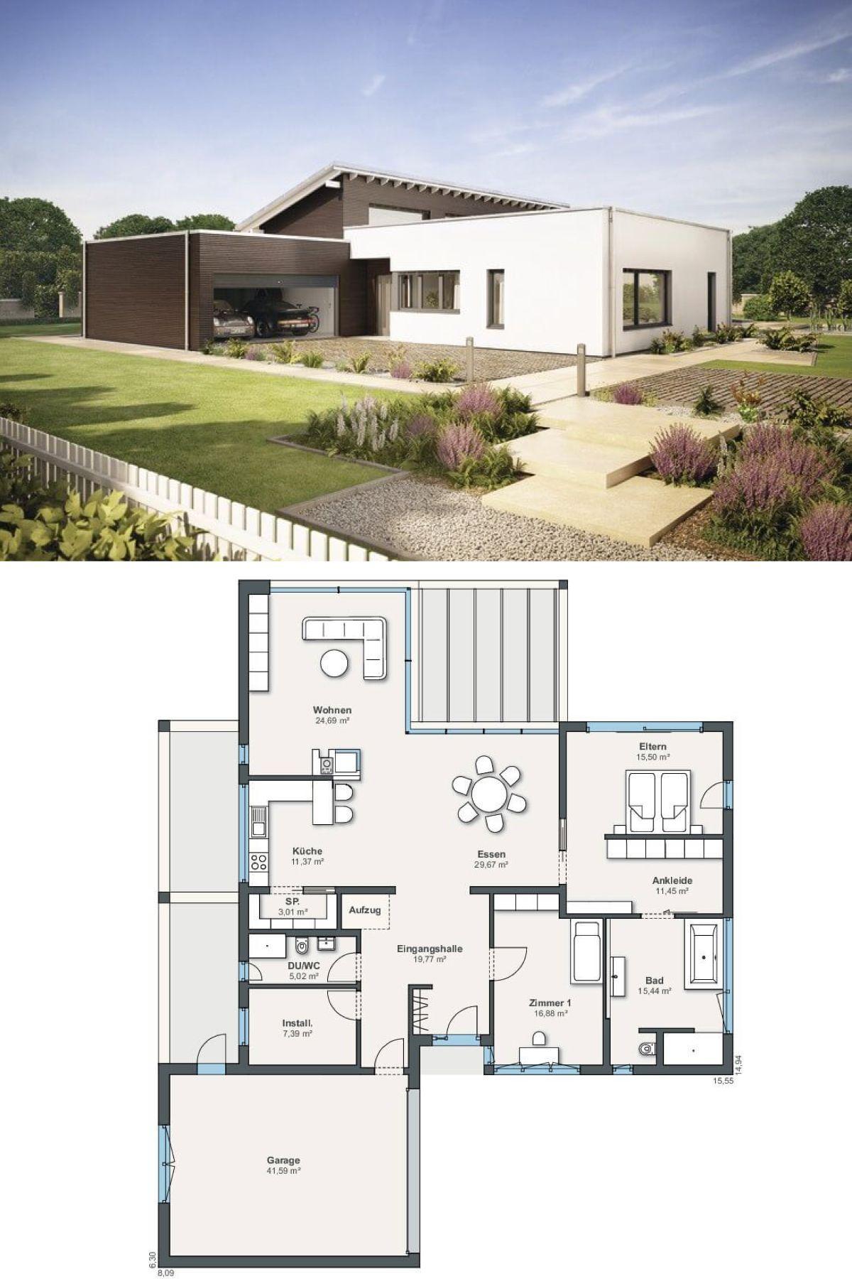 Bungalow Grundriss ebenleben Weberhaus Haus Ideen