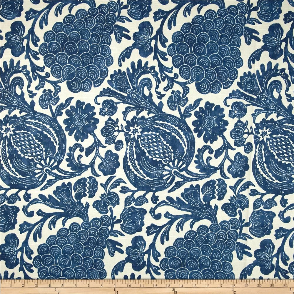 Slipcover fabric by the yard - P Kaufmann Batik Indigo Fabric By The Yard