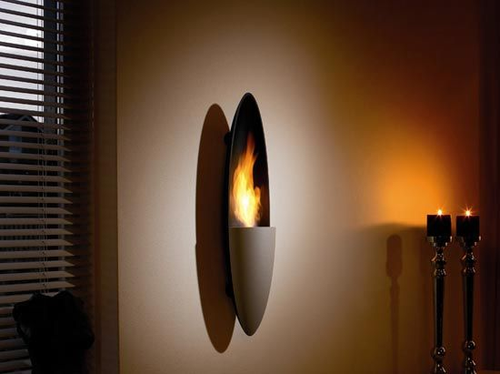Decoflame Ellipse Flueless Fire: Unique Wall Hung Fireplace By Modern Flames.