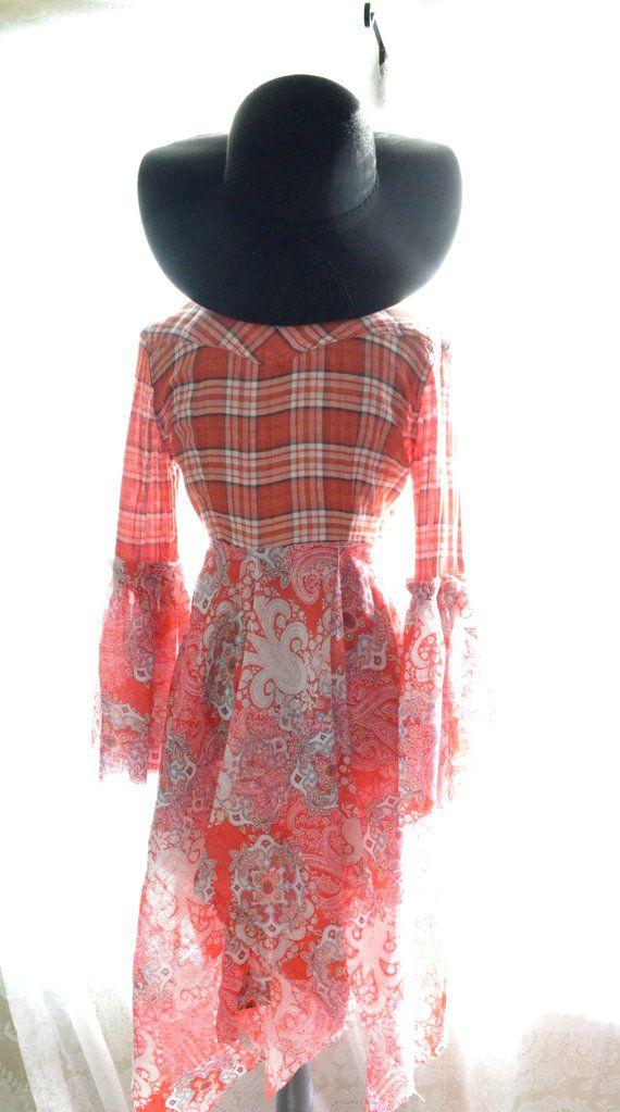 Red Grunge Flannel Stevie Nicks style Gypsy by TrueRebelClothing