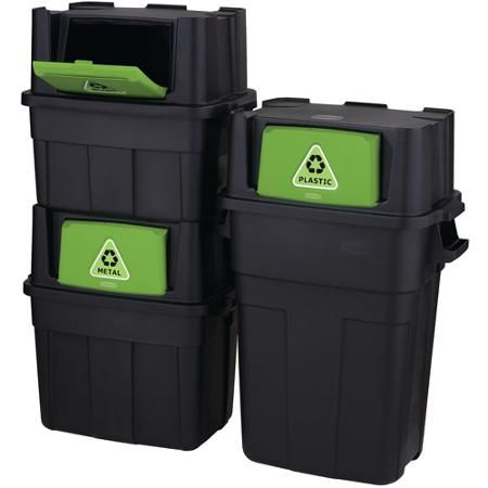 Home Depot Recycling Bins Rubbermaid Flipdoor Stackable Recycle Bin Bundle Set Of 3