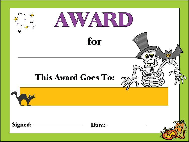 Free Printable Halloween Costume Certificates Frameimage