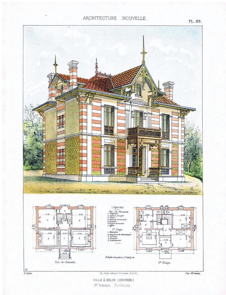 1890 2 lithograph architecture french house original architecture 1890 2 lithograph architecture french house original architecture blueprint prin malvernweather Images
