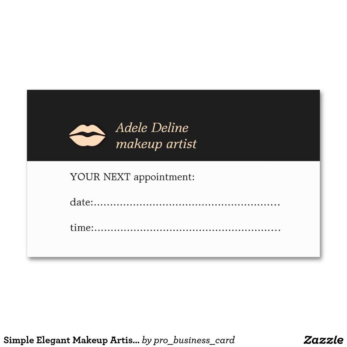 Simple Elegant Makeup Artist Appointment Card | Elegant makeup ...