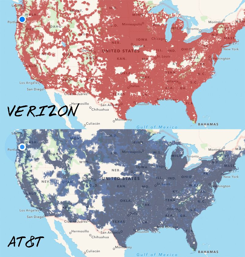 Verizon Versus At Amp T Coverage Across The Us From Coverage