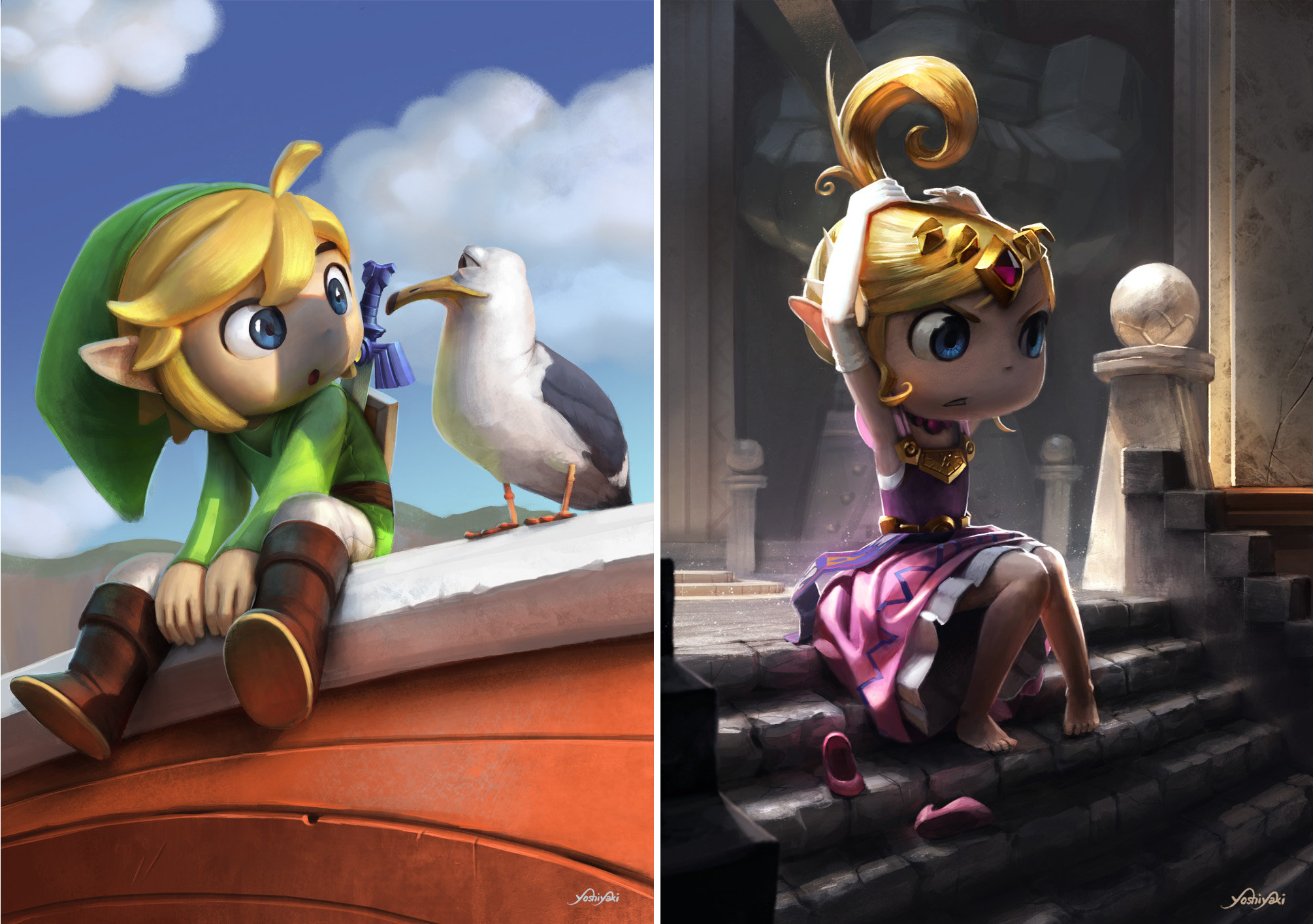 If DreamWorks made The Legend of Zelda, it might look like these pieces by Cassio Yoshiyaki.