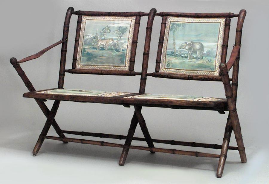 french victorian oak faux bamboo campaign design folding loveseat rh pinterest com