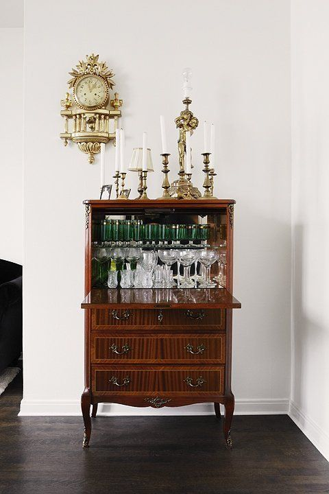 a vintage secretary makes the ultimate home bar home stuff rh pinterest com