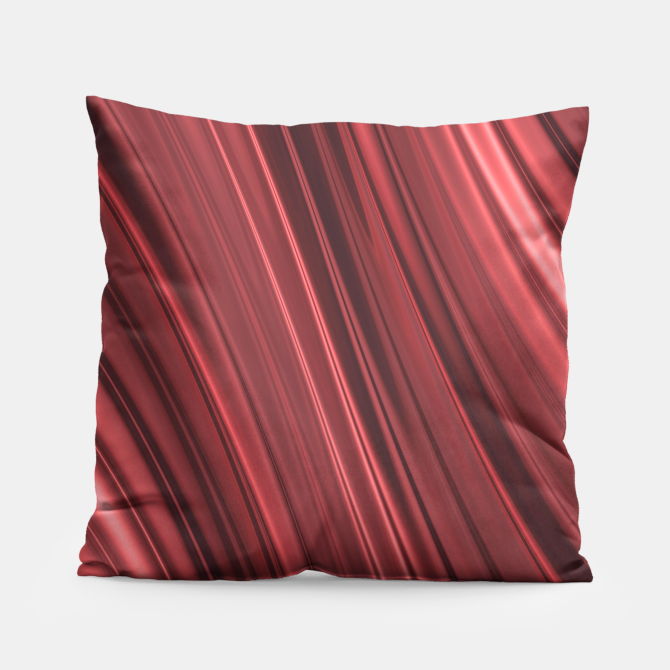 Shaded strawberry red and black stripes pillow