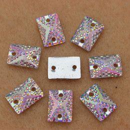2017 hole rectangle beads 200PCS 10*14mm Rectangle Resin Rhinestones FlatBack Beads sew 2 Holes ZZ244 hole rectangle beads on sale