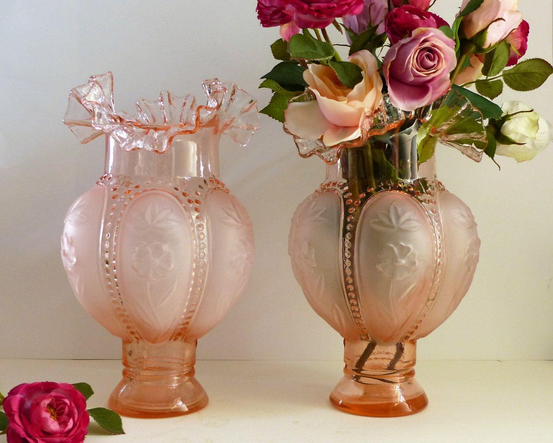 Vintage pink glass vases french vintage glass vases large pink vintage pink glass vases french vintage glass vases large pinkpeach glass vases reviewsmspy