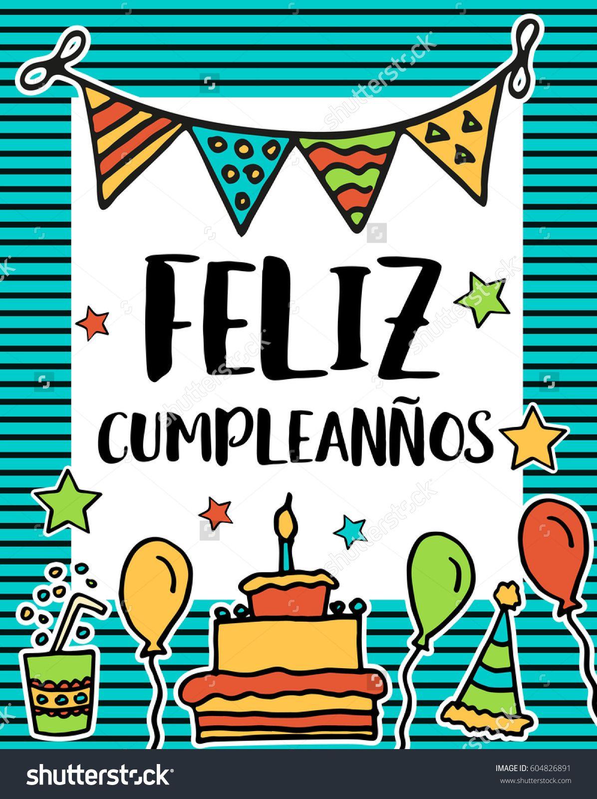 Feliz Cumpleanos Happy Birthday Greeting Written In Spanish
