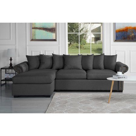 modern large tufted linen fabric sectional sofa scroll arm l shape rh pinterest com
