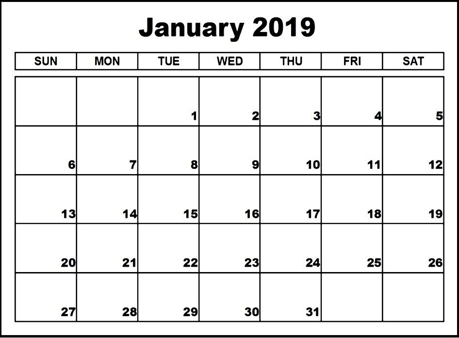 January 2019 Calendar Fillable Editable Calendar Calendar