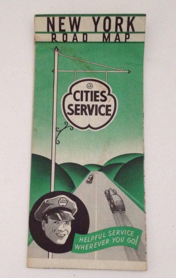 Vintage Gousha Road Map 1939 New York