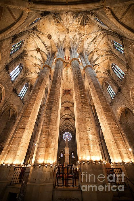 Massive Pillars Support Gothic Vault Of The Basilica Santa Maria Del Mar In Barcelona
