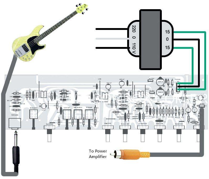 Bass guitar preamp pedal diy schematic pcb design in