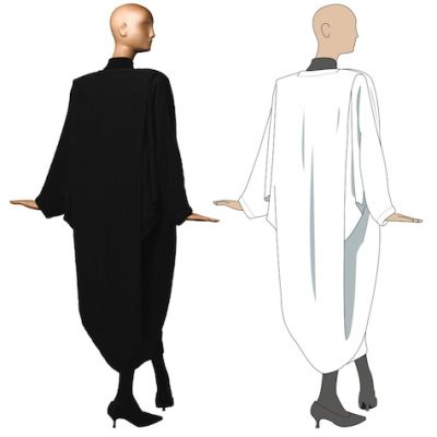 Free Designer Pattern: Patrick Kelly One-Seam Coat \Size: One size fits all\http://www.philamuseum.org/doc_downloads/exhibitions/special/patrickKelly/PKCoatPattern.pdf