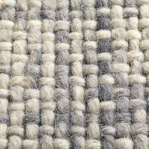 Mid Century Heathered Basketweave Wool Rug Steel Basket Weaving Wool Rug Modern Wool Rugs