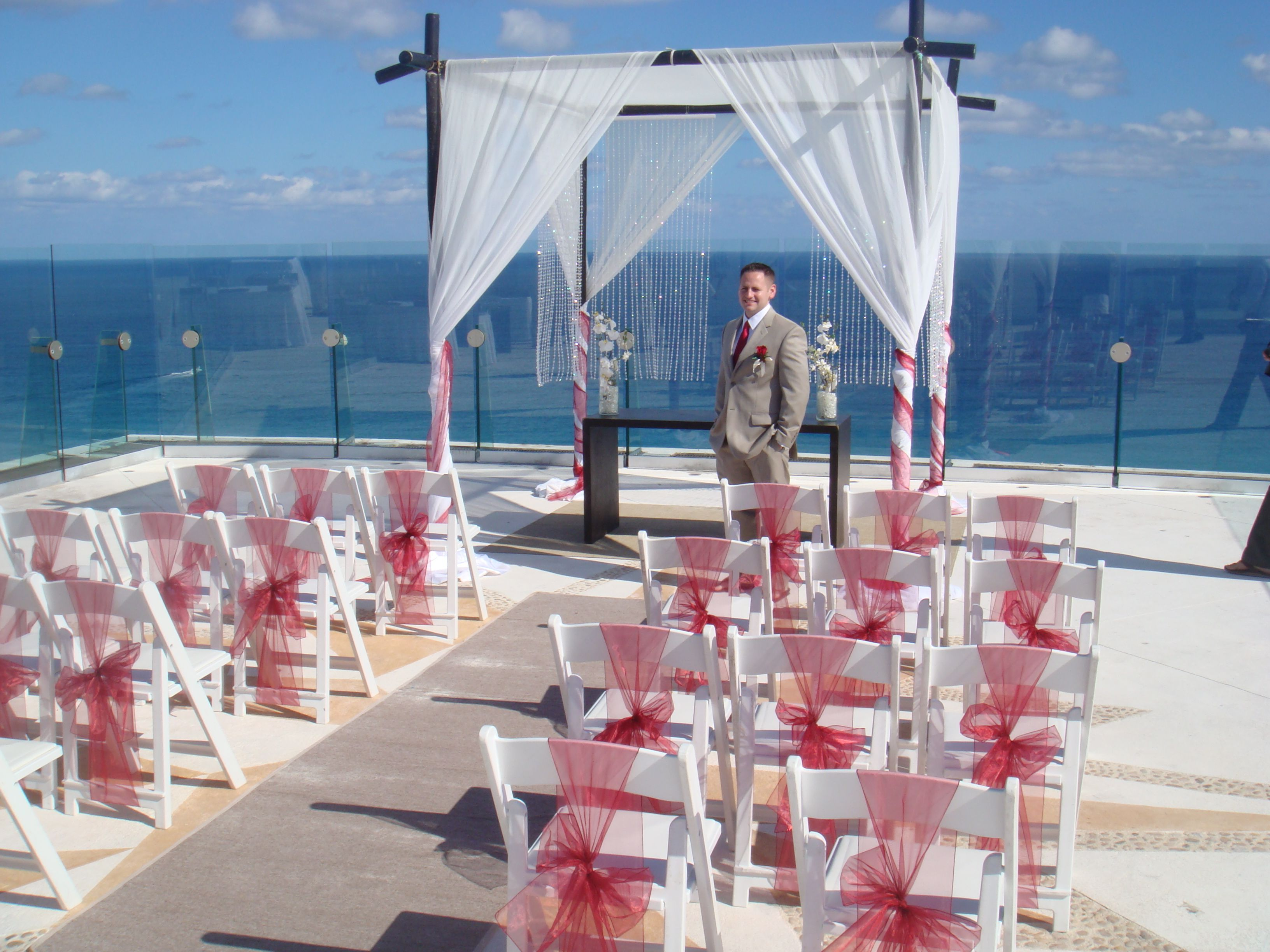 Beach Palace Cancun rooftop oceanview wedding