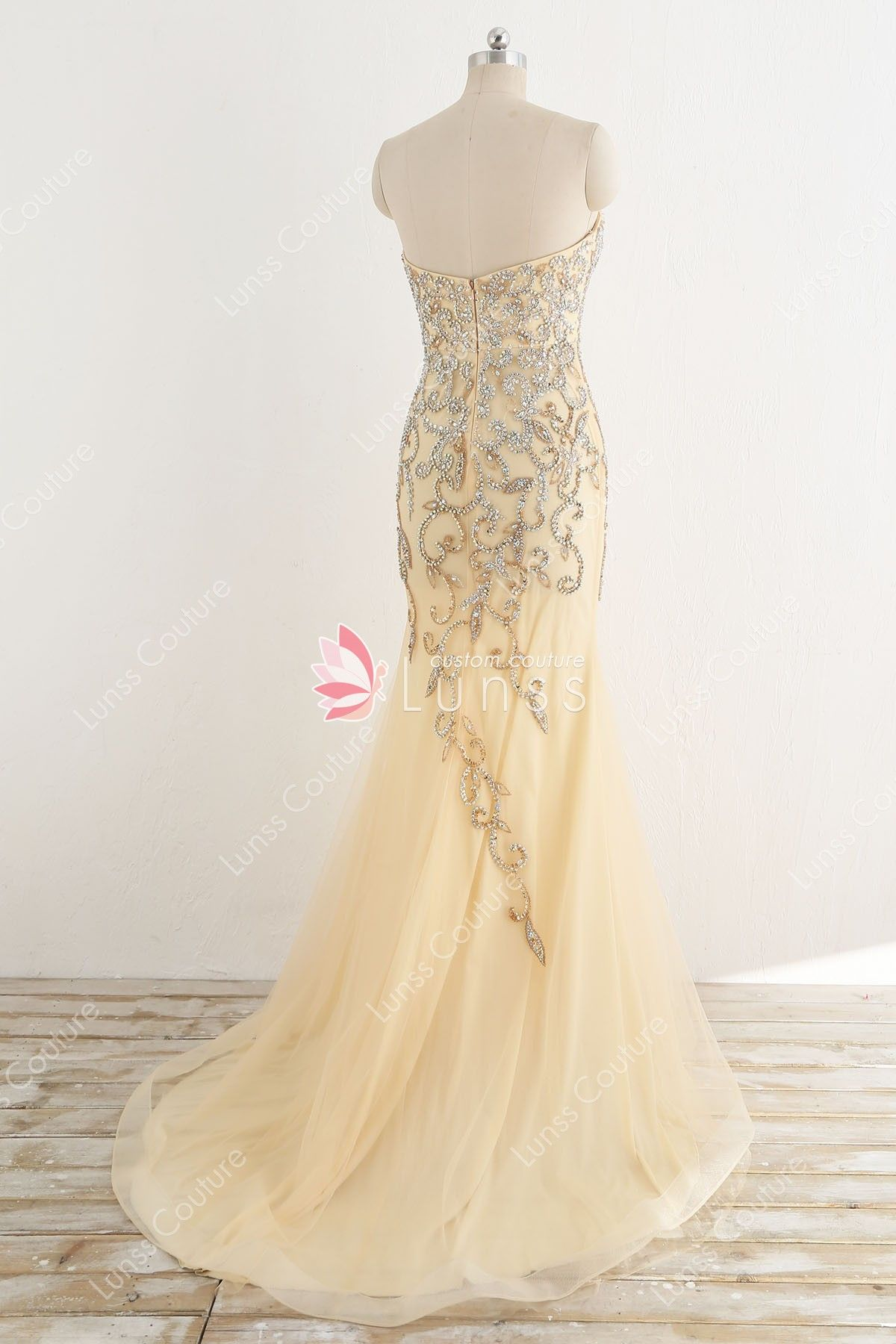 135862b64cf1 Champagne Beaded Strapless Sweetheart Mermaid Evening Prom Dress with Sweep  Train - Lunss Couture