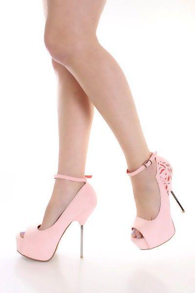 15bef810b738 Pink Faux Suede Rhinestone Detail Sexy Heels   Amiclubwear Heel Shoes  online store sales Stiletto