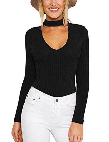 ISASSY Sexy Body Femme Manches Longues Col V en Coton Pull Combinaison  Bodysuit Grenouillère – L – Noir  Tweet Spécifications  Tout neuf et… bde7735c2a7