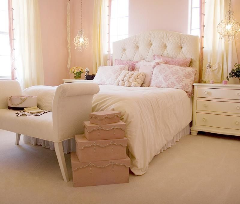 Pretty pink bedroom.