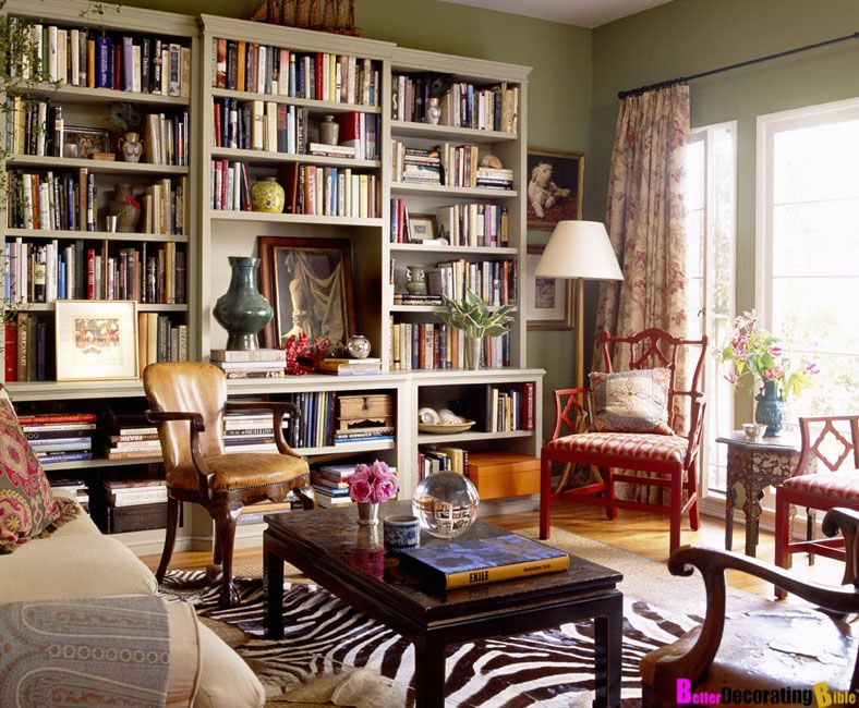 Beau Classic Interior Design And Creative Wooden Chair With WoodenTable Also Big  Book Shelf With Green Walls