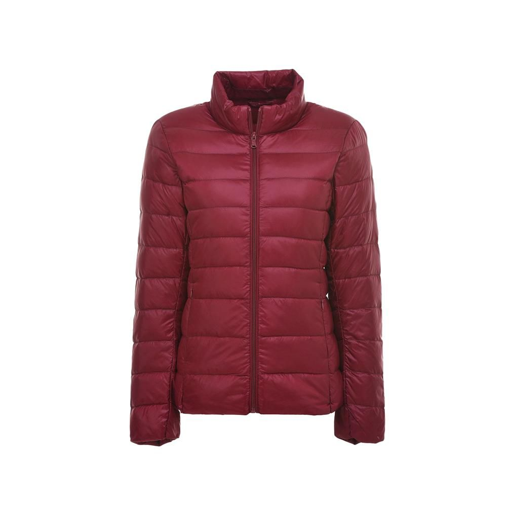 Womens Down Jacket Zip Quilted Jacket High Neck Windproof Jacket Warm Winter Coat, Wine Red / XL (Bust:102CM) #womenvest