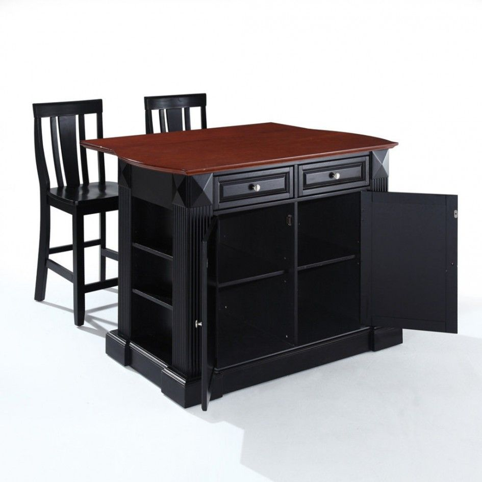 Mesmerizing Black Kitchen Island Cart with Double Magnetic Cabinet Catch also Black Wooden Counter Height Stools with Backs from Kitchen Island Plans