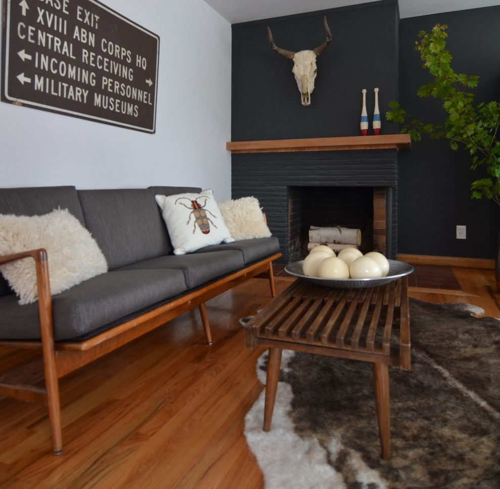 Sumptuous Cow Skull mode Portland Contemporary Living Room Decorators with black wall cow skull Faux cowhide ostrich eggs sofa