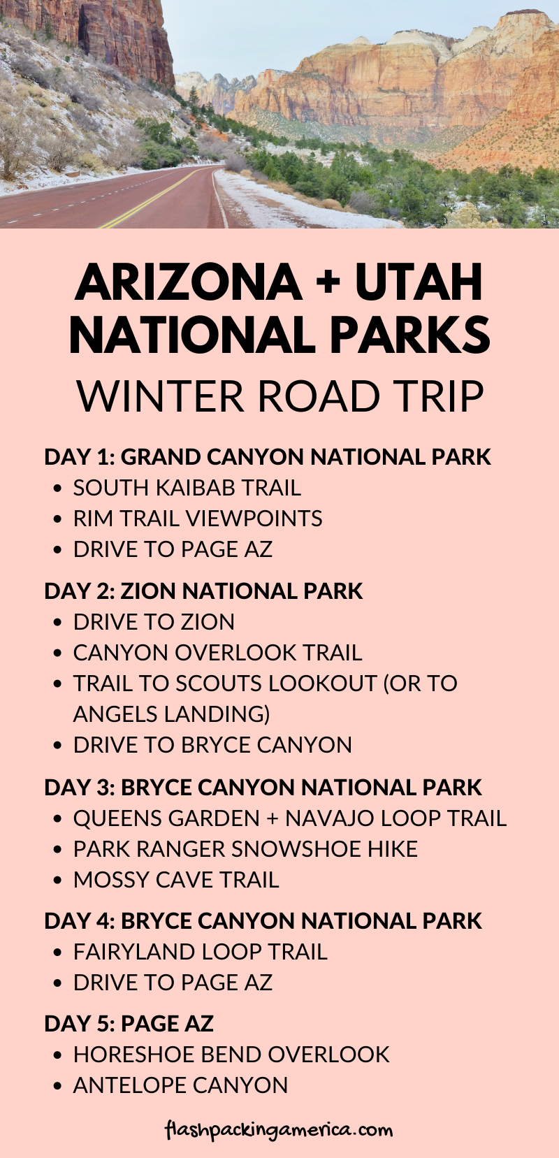 Arizona Utah national parks itinerary 5 day winter road trip