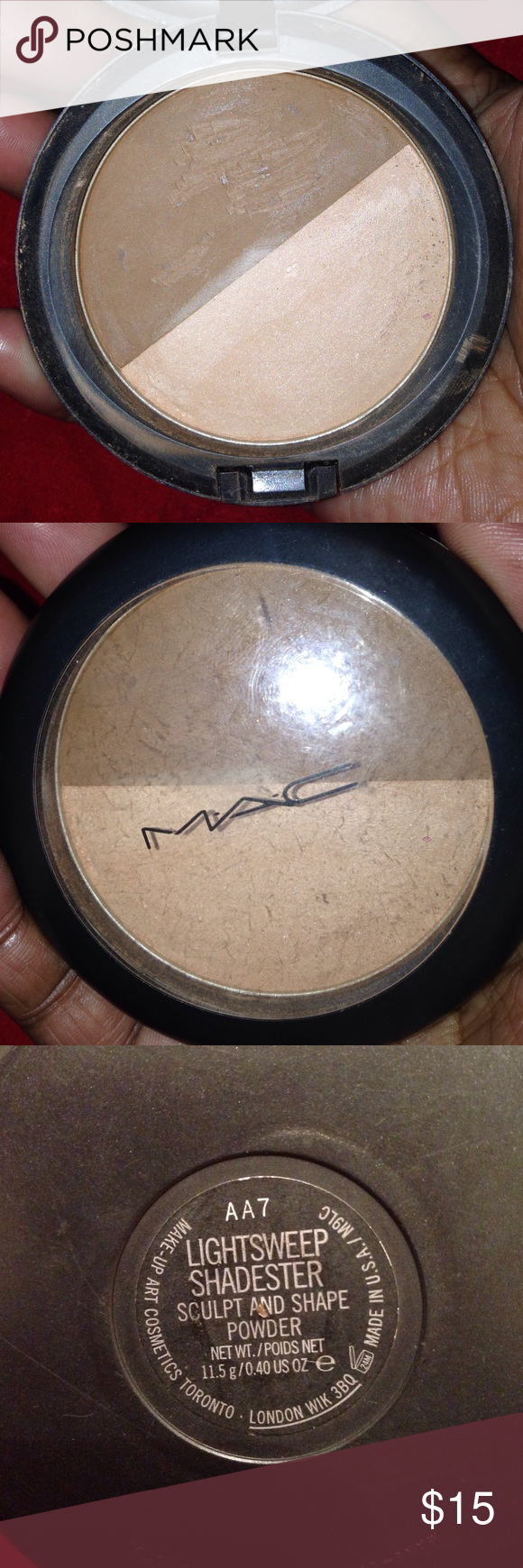 Mac Sculpt & Shape Powder Lightsweep Shadester DIS Mac Sculpt & Shape Powder  Lightsweep/Shadester DISCONTINUED    A powder that combines a highlighting and contouring shade in one pan. 70% left   Too light for me now MAC Cosmetics Makeup Face Powder
