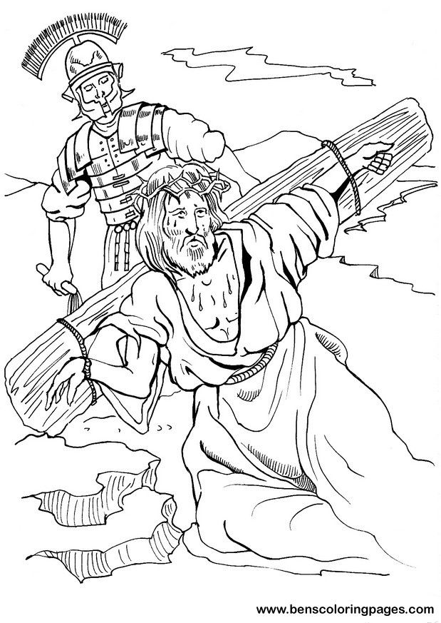 jesus cross fall down coloring - Coloring Pages Jesus Cross