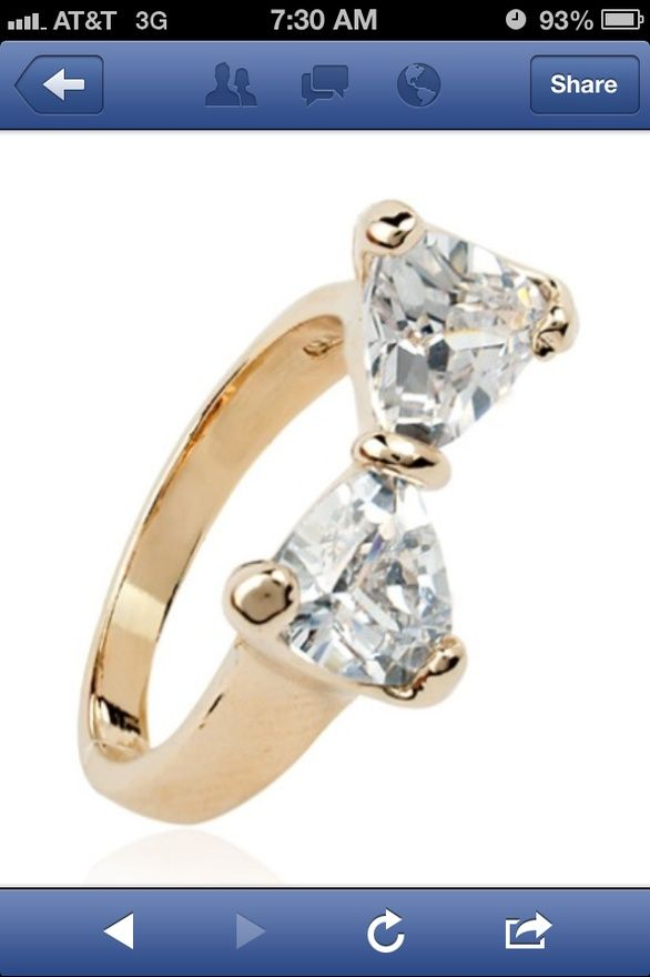 A bow diamond ring. This would be an amazing engagement ring!