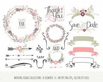 Coleccin de imgenes prediseadas de invitacin de la boda la floral wreath hand drawn floral wreath clipart wedding invitation clip art commercial use png and vector stopboris Choice Image