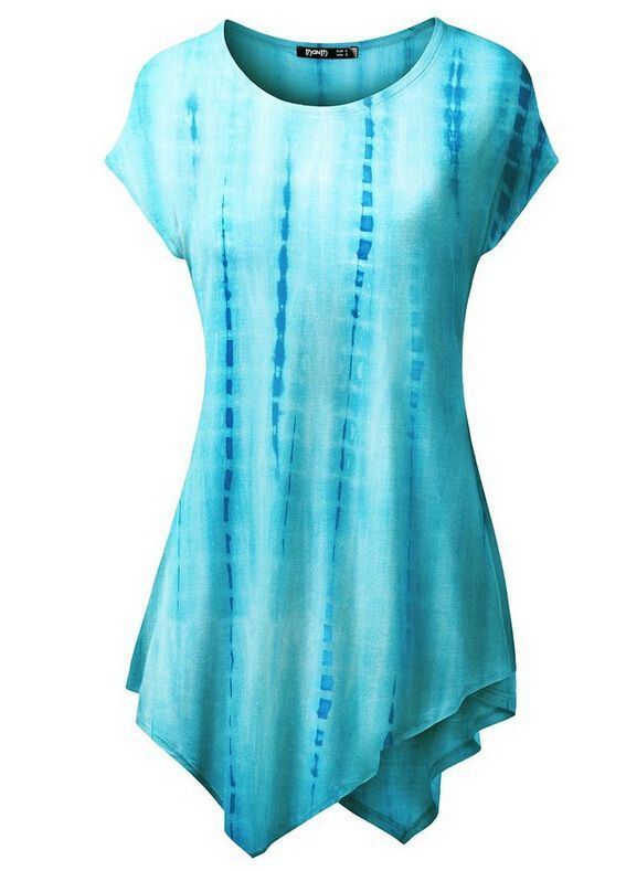 74b2e9a653 Thanth Womens Comfy Tie Dyed Loose Leisure Tunic Top With Various Hem