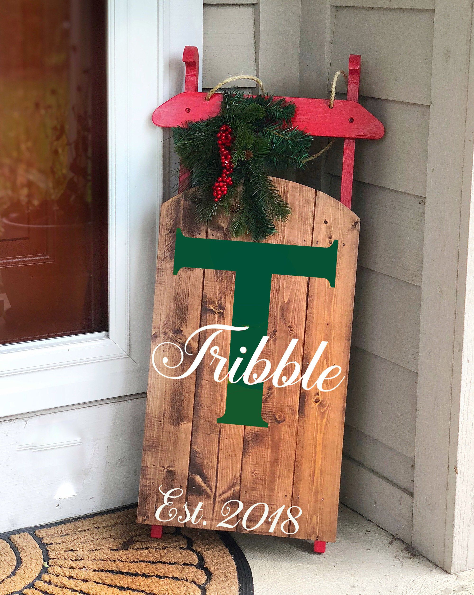 Christmas Decor Personalized Wooden Sled Holiday Porch Etsy Outdoor Holiday Decor Sled Decor Christmas Sled