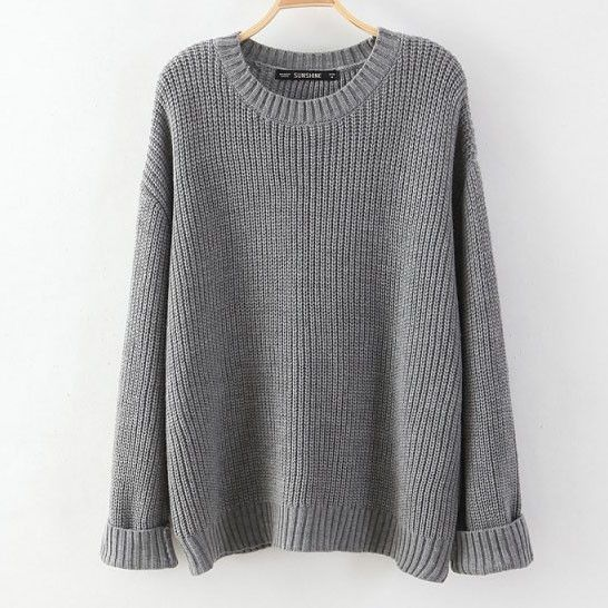 30e311b3fcefa Long knit sweater with oversized look. Made with a blend of cotton    polyester. Onesize fits most, measures  Bust 45 inches, Length 23 inches.