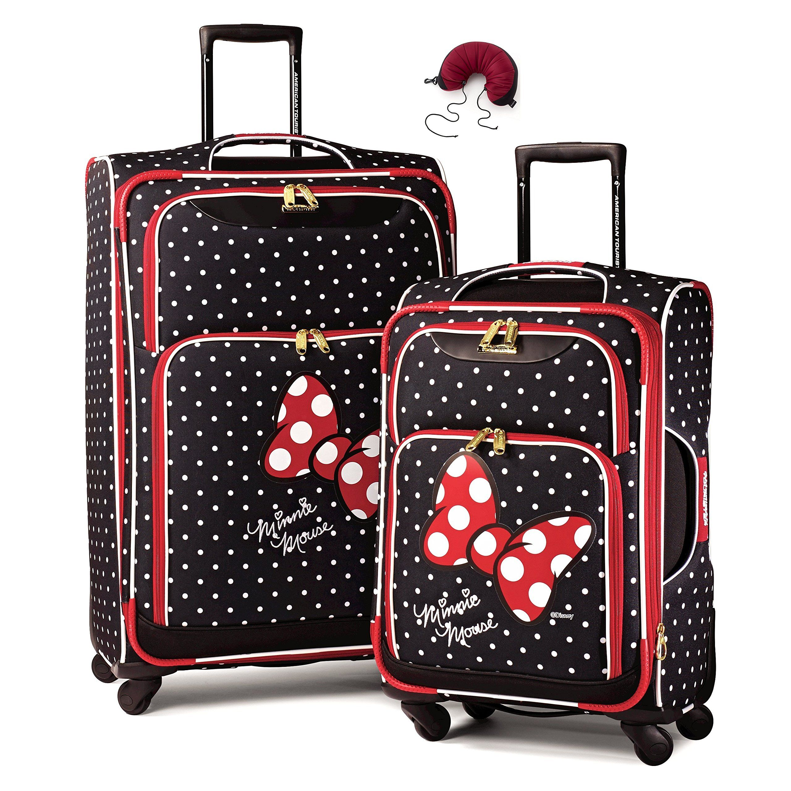 American Tourister Disney Softside Spinner 2 piece Luggage set 21 and 28  and Travel Pillow (One Size ece0e2a7607cf